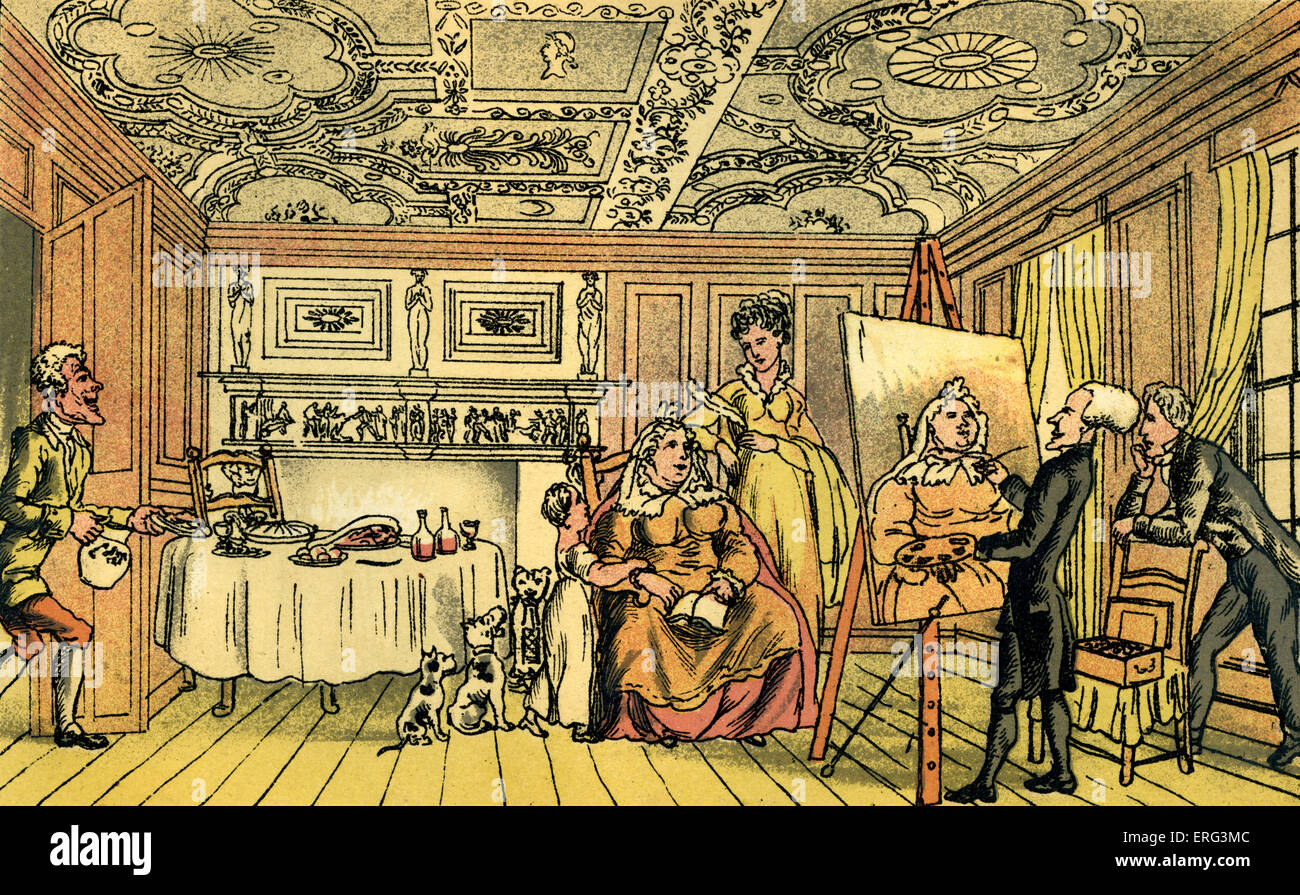 'Dr Syntax painting a portrait', illustration by Thomas Rowlandson from 'Doctor Syntax's Tour in - Stock Image