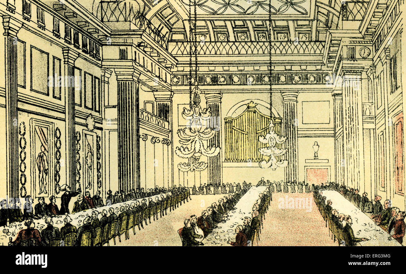 'Dr Syntax at Freemason's Hall', illustration by Thomas Rowlandson from 'Doctor Syntax's Tour - Stock Image