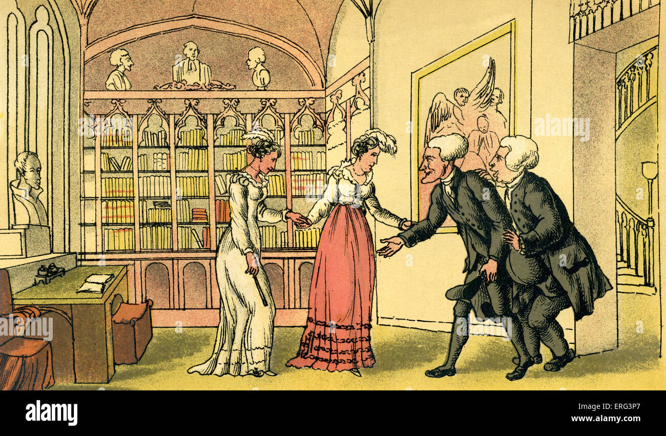 'Introduction to courtship', illustration by Thomas Rowlandson from 'Doctor Syntax's Tour in Search - Stock Image