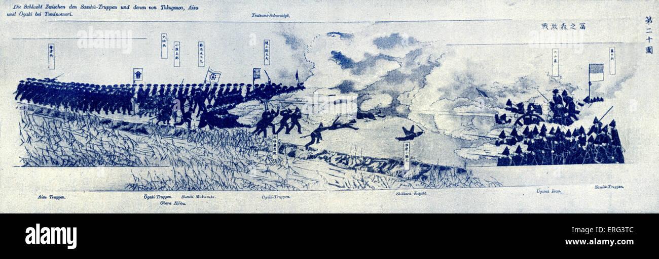 The Encounter at Tominomori during the Battle of Toba-Fushimi, 27 - 30 January 1868.  An battle of the Boshin War - Stock Image