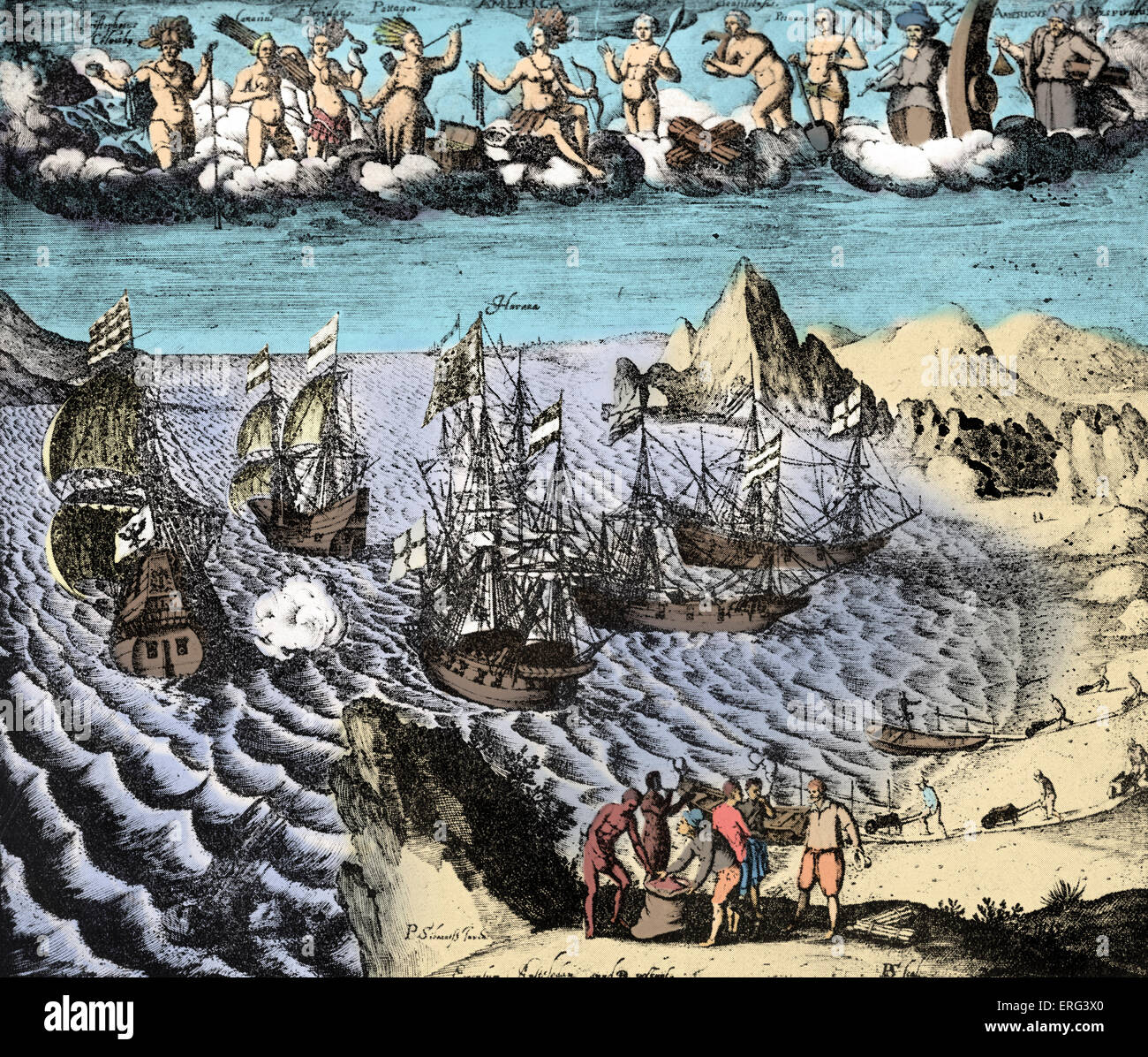 The Discovery of America and its Riches. Dutch engraving by P. Sibrant. Colourized - Stock Image
