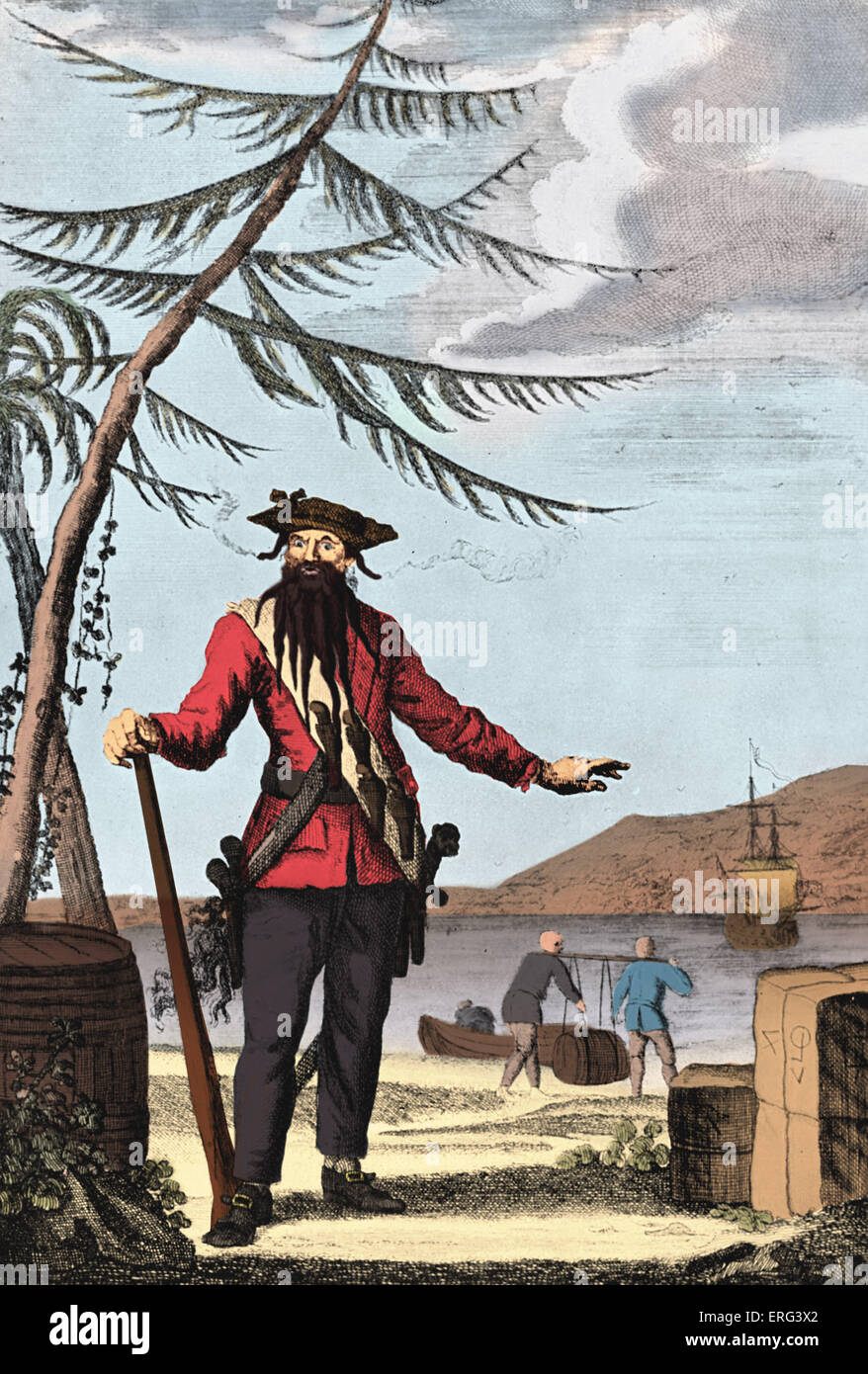 Captain Edward Teach, (Blackbeard), engraving. Portrait of Edward Teach (Thatch, born Edward Drummond), commonly - Stock Image