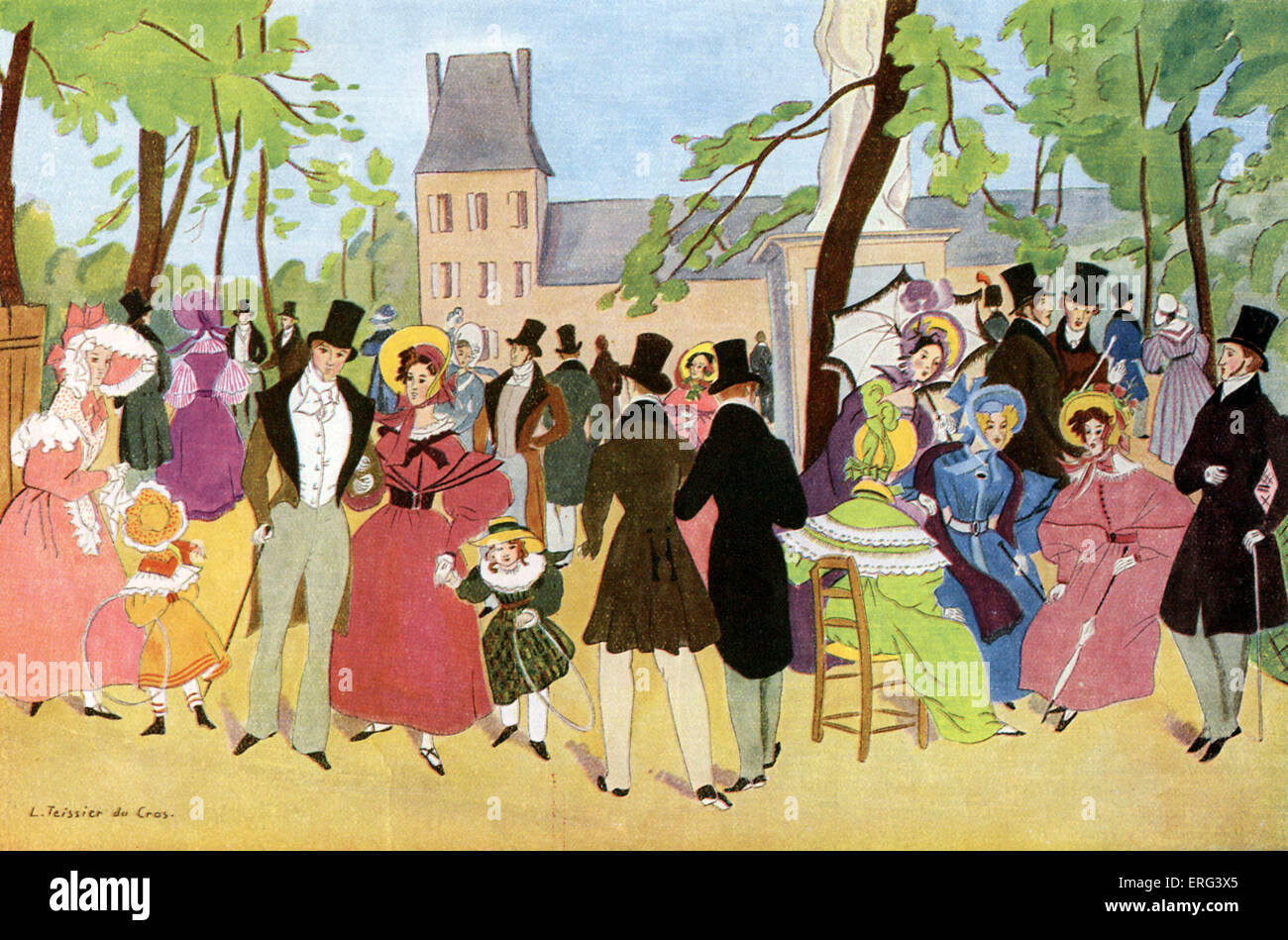 Strolling in the park in Paris, France in 1831.  Illustration from 1930 by L. Teissier du Cros. Unable to trace Stock Photo