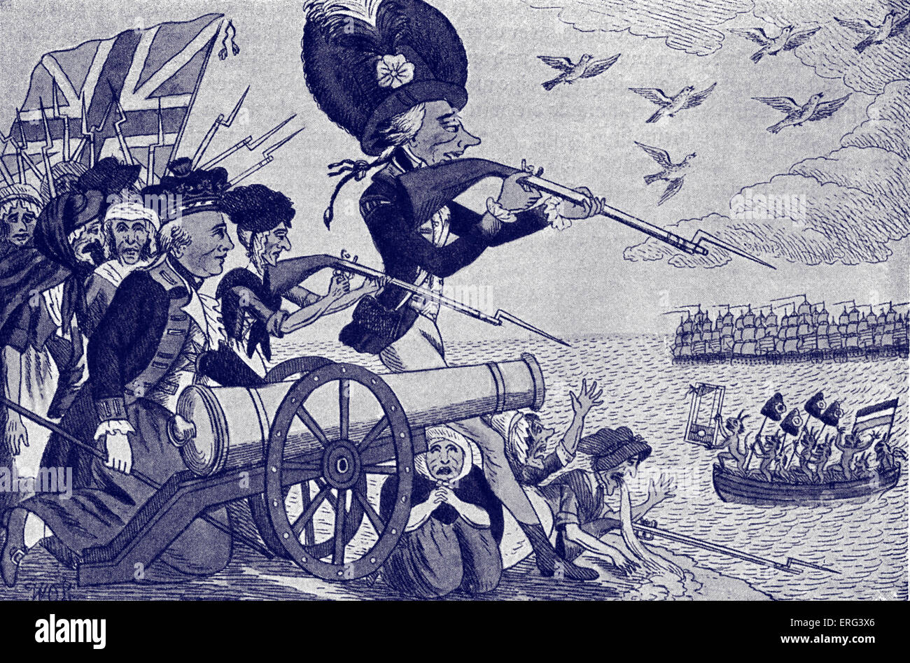 Napoleon 's planned invasion of England.  Contemporary caricature showing British troops firing on French revolutionaries - Stock Image
