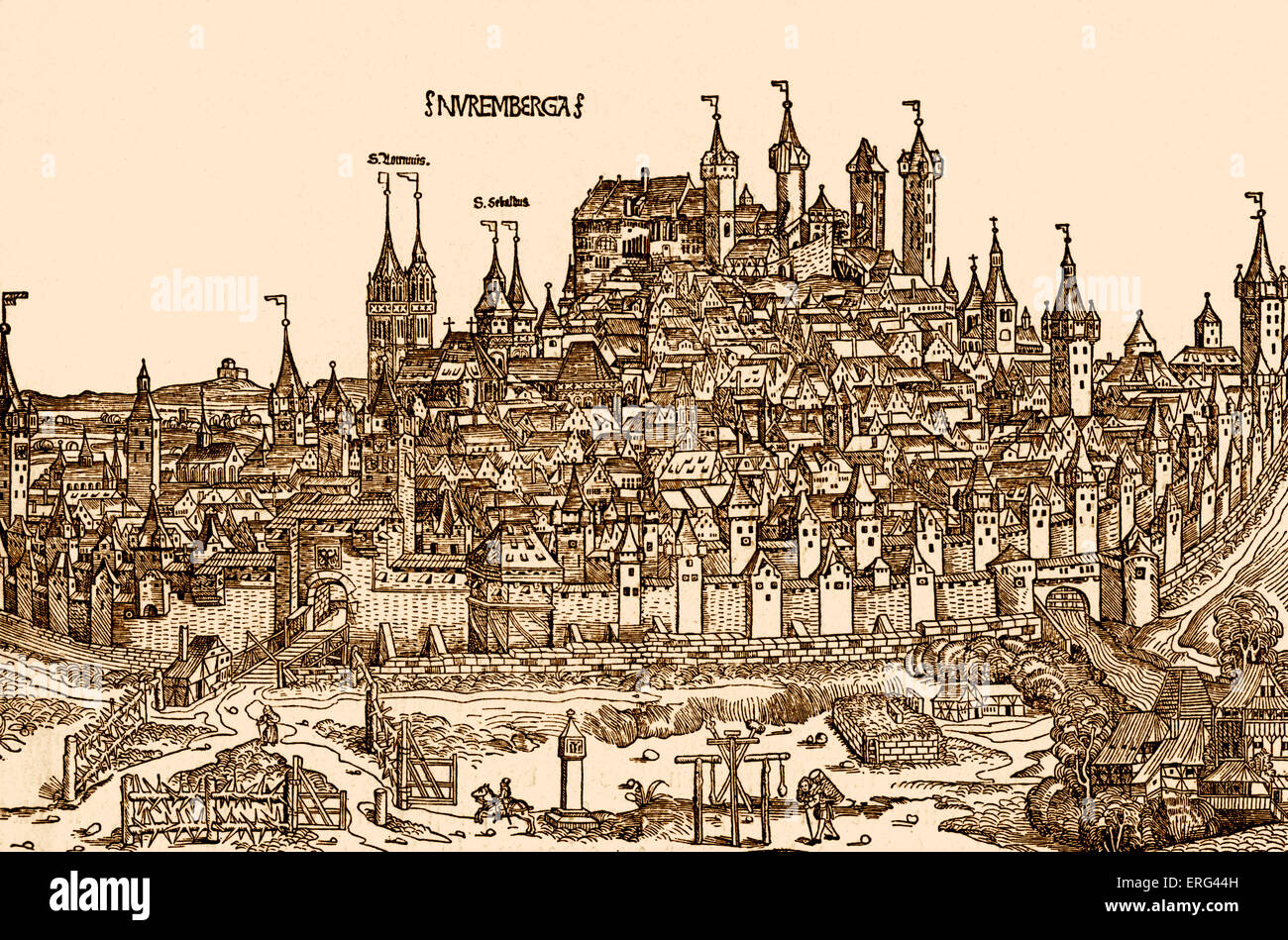 Nurnburg view  in the 15th century.  From Hartmann Schedel's 'Chronicle of the World'  /Weltchronik. - Stock Image