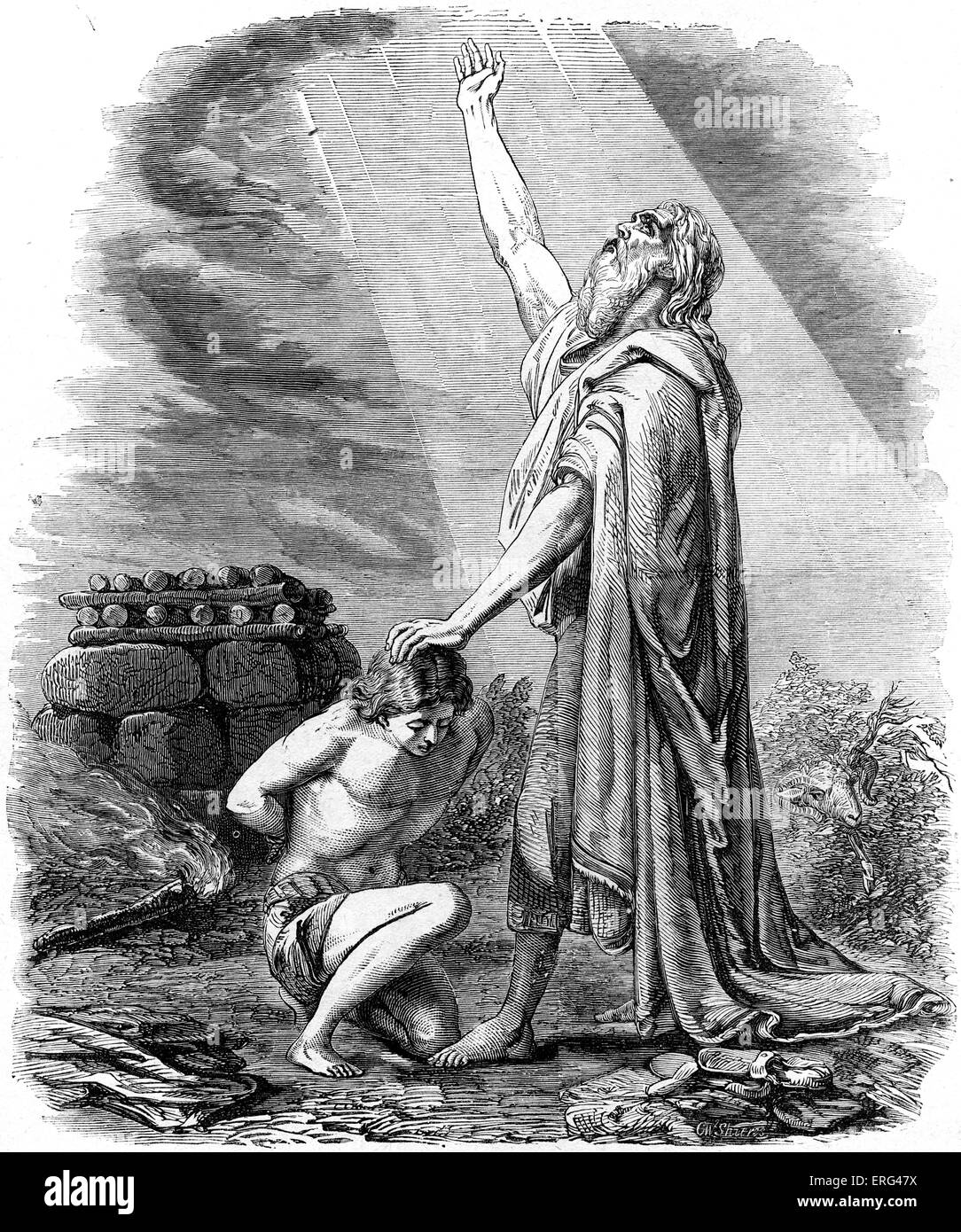 Abraham willing to sacrifice Isaac as burned offering in response to God's command.   Genesis, chapter XXII. - Stock Image
