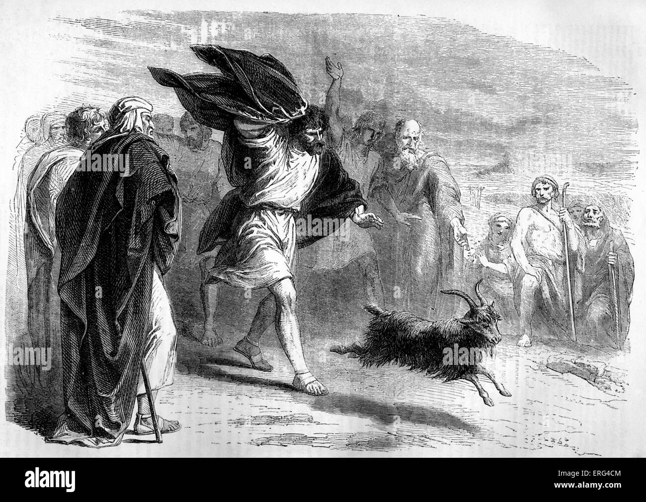 The scapegoat sent into the wilderness. ' And Aaron shall lay both his hands upon the head of the life goat, - Stock Image