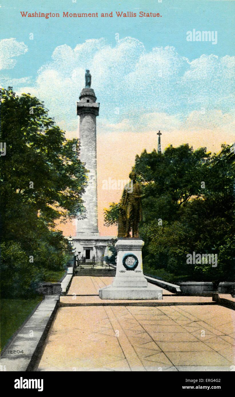 Baltimore: Washington Monument and Wallis Statue - Stock Image