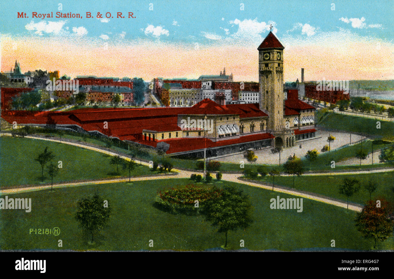 Baltimore: Mount Royal Station, Baltimore and Ohio Railroad.  C.1900s - Stock Image