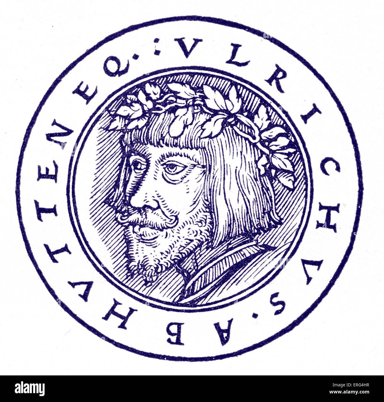 Ulrich von Hutten German Church reformer 21 April 1488 - 29 August 1523.  After a German woodcut dated 1523. - Stock Image