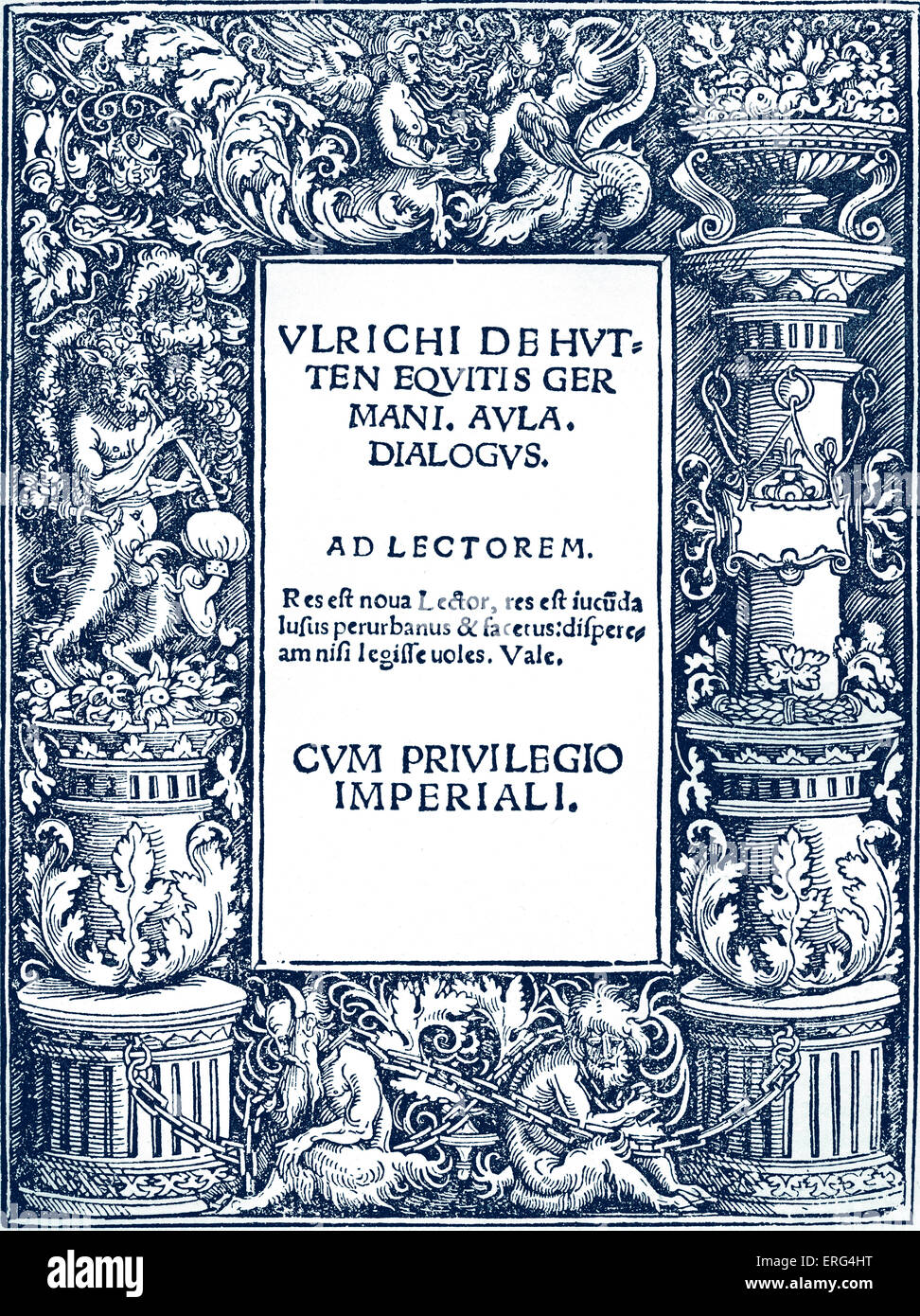 Title page to Ulrich von Hutten 's 'Dialogues', published Augsburg 1529. UvH German Church reformer - Stock Image