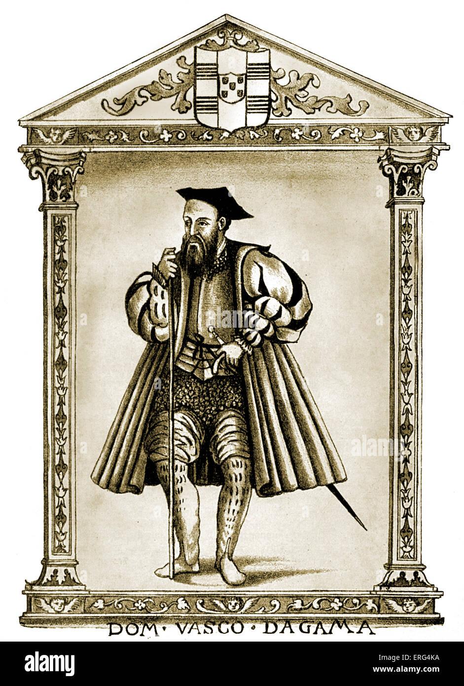 Vasco de Gama, in 'Lendas da India par Gaspar Correa'.  VdG Portuguese explorer 1460 - 24 December 1524. - Stock Image
