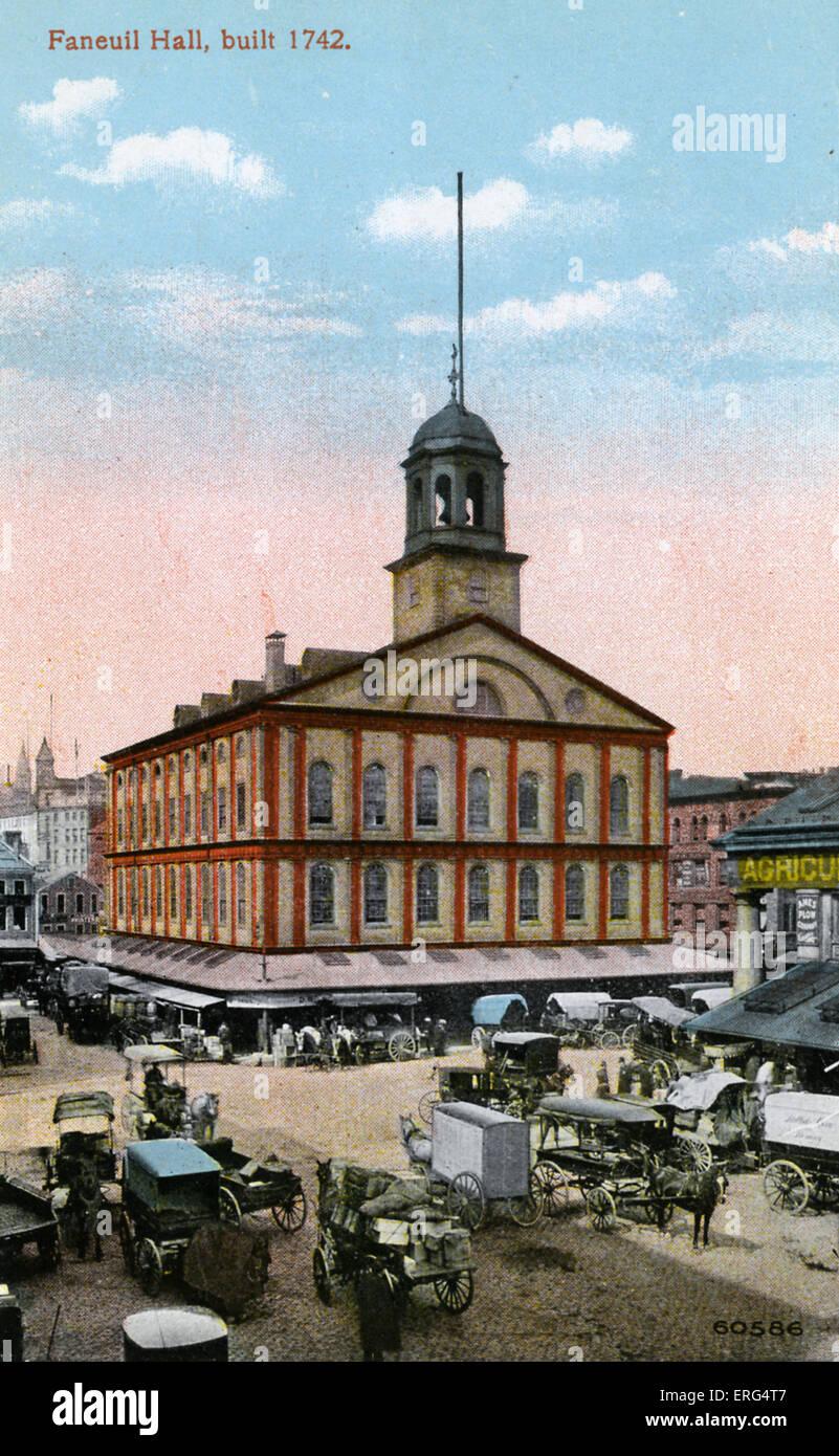 Boston: Faneuil Hall, built 1742. Photo taken c.1900s - Stock Image