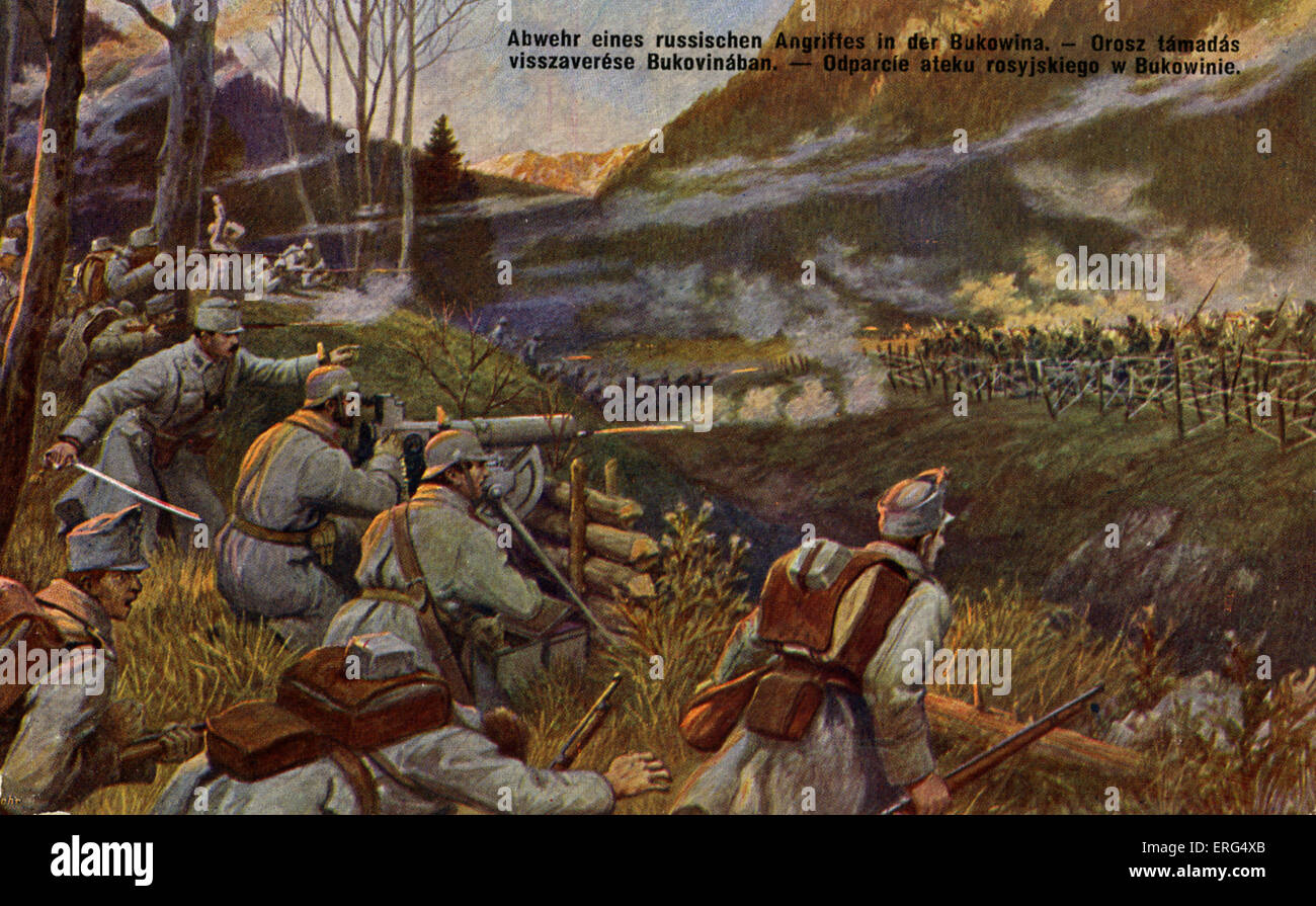 World War I: Austro-Hungarian army repulsing an attack from the Russian army in Bukovina (part of Austro-Hungarian - Stock Image