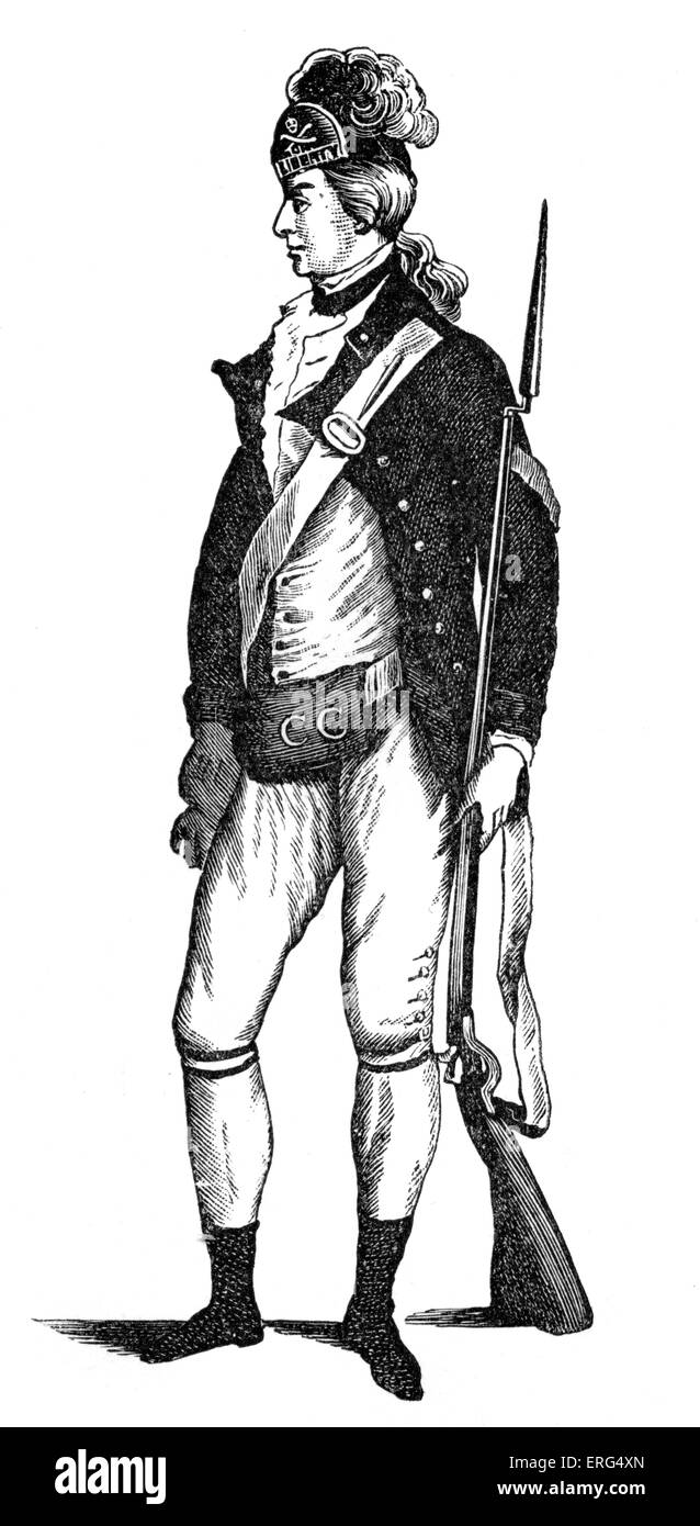 American rifleman. From E. Barnard 'History of England', 1790 - Stock Image