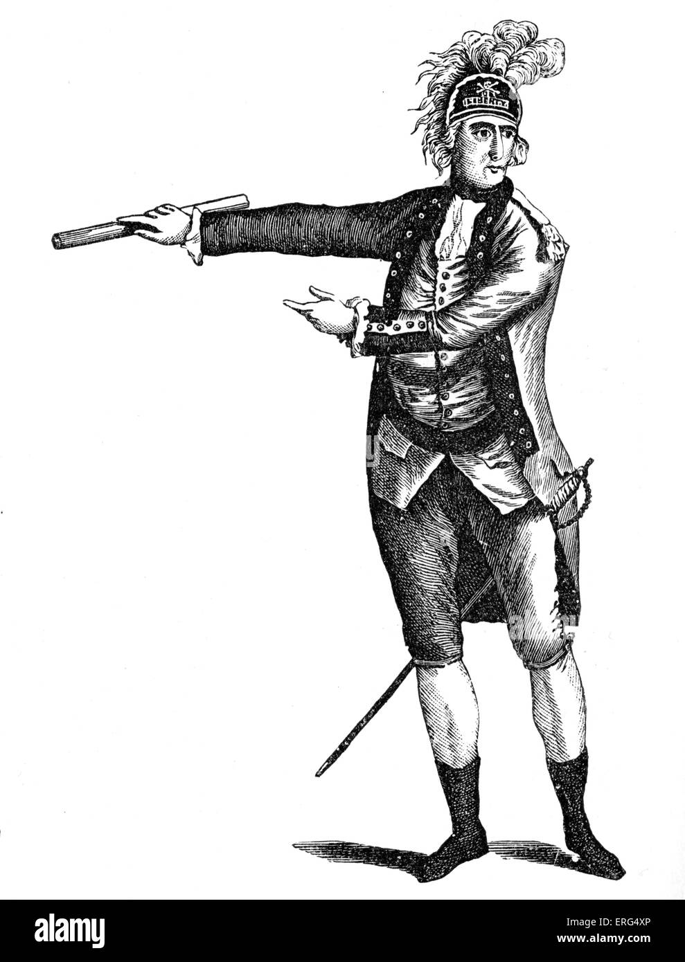 American general. From E. Barnard 'History of England', 1790 - Stock Image