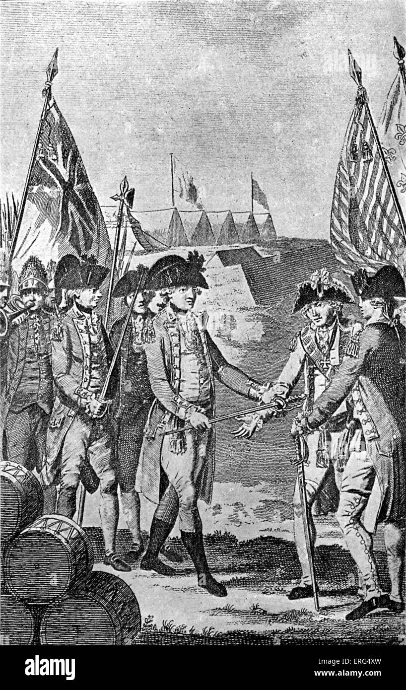Surrender of Lord Cornwallis at Yorktown. From Barnard 'History of England', 1790. - Stock Image