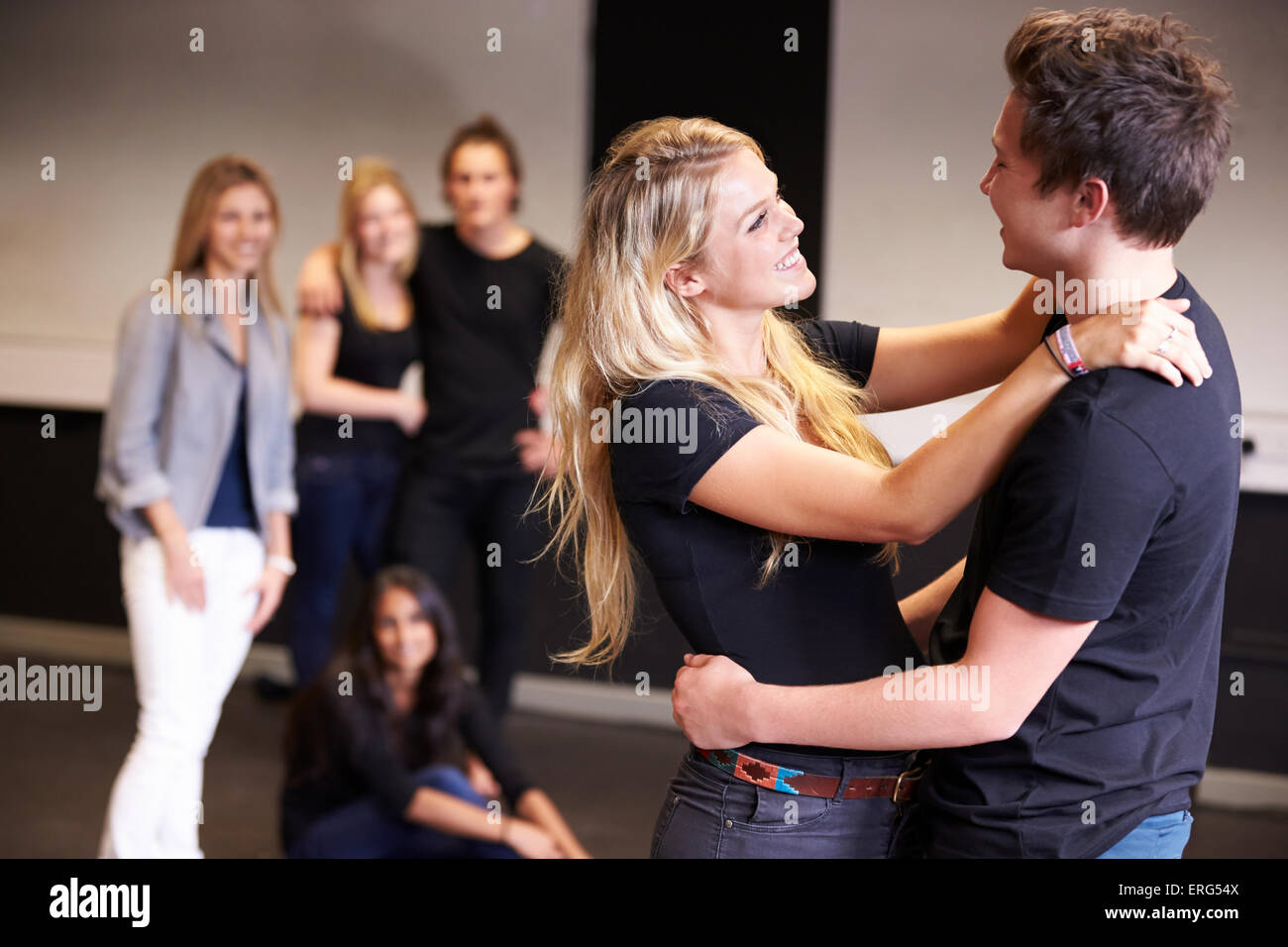 Students Taking Acting Class At Drama College - Stock Image