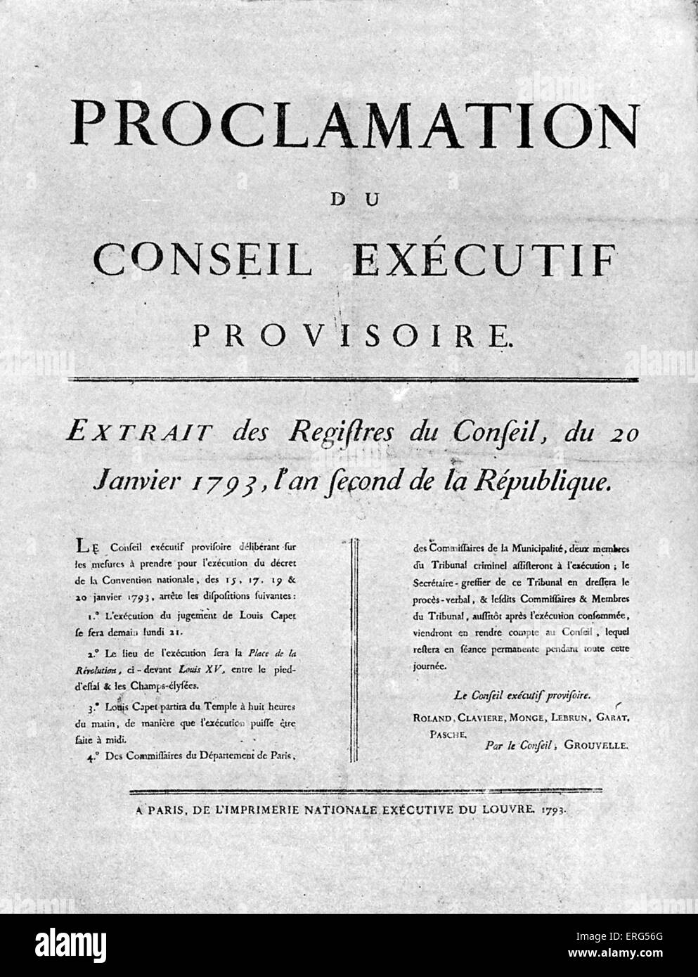 Placard of order for the execution of Louis XVI. King Louis XVI was tried by the National Convention, found guilty - Stock Image