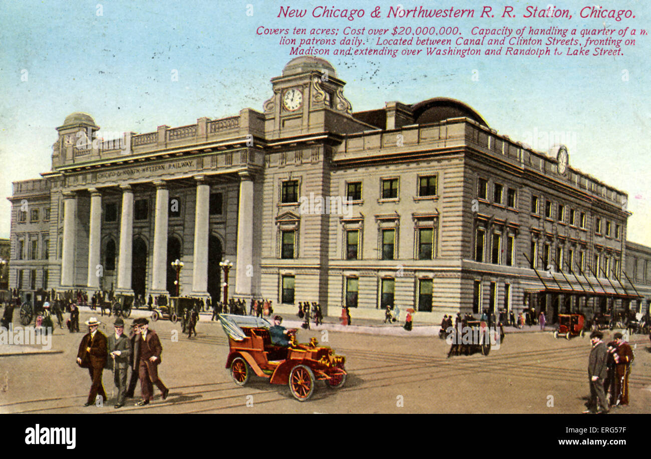 Chicago, Illinois: New Chicago and Northwestern R. R. Station. Caption reads: Covers ten acres; cost over $20,000,000. - Stock Image