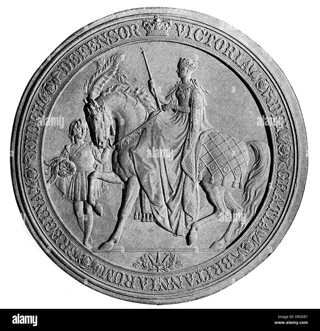 Great seal of Queen Victoria (the reverse side) - seal  used to symbolise the monarch's approval of important - Stock Image