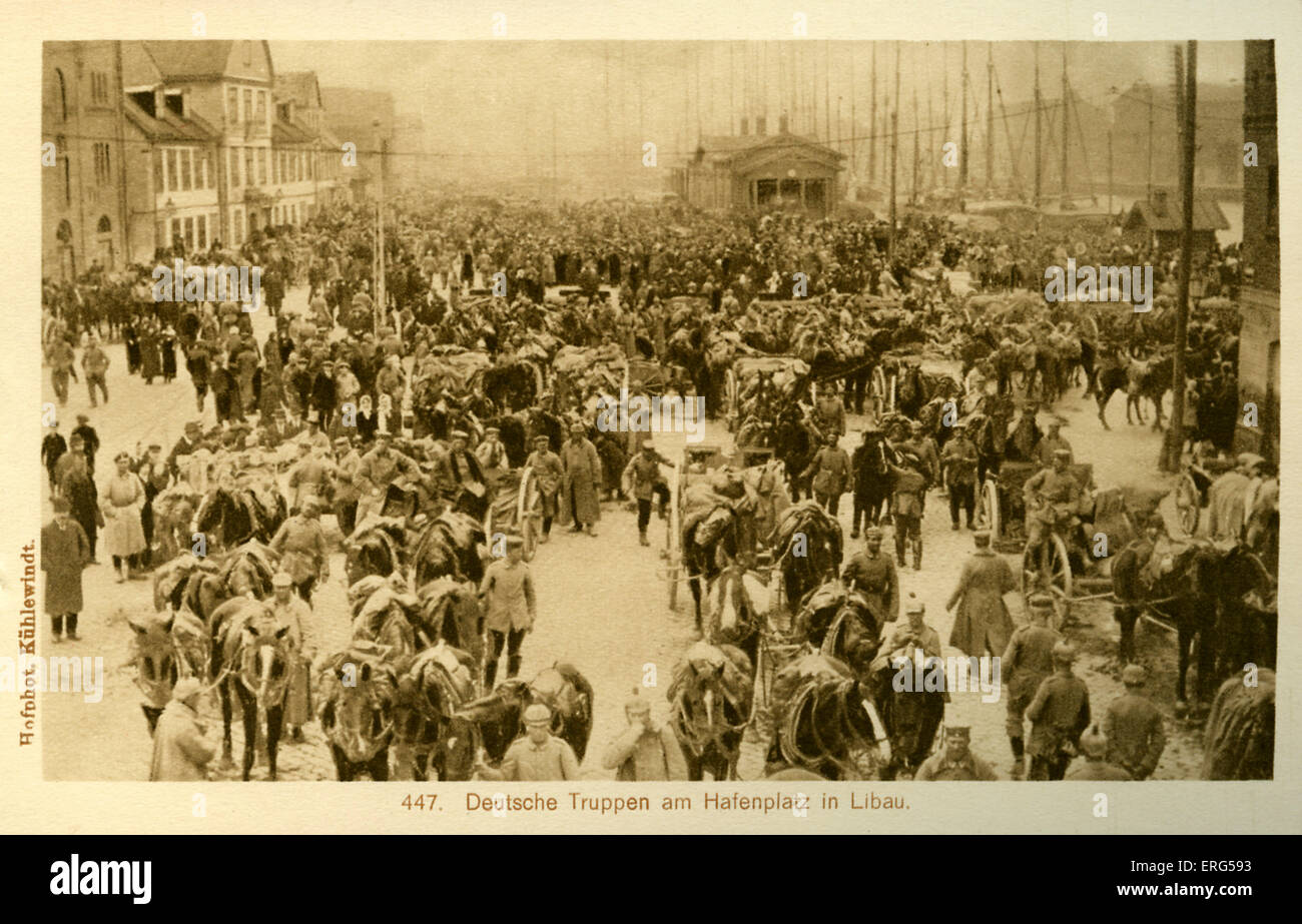 Libau under World War I German Occupation.Taken from photograph, shows German troops and horses and wagons gathered - Stock Image