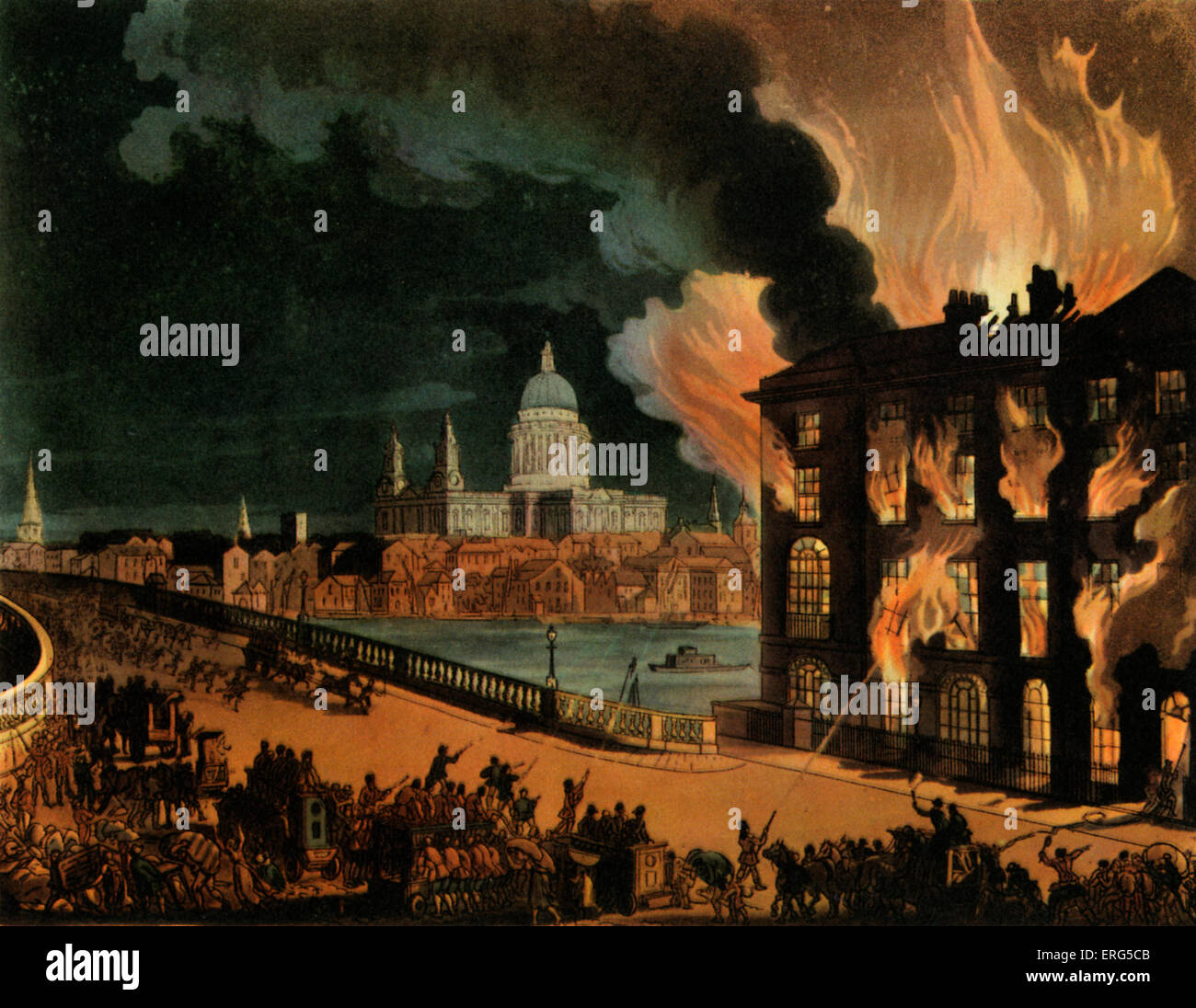 Fire in London. Coloured aquatint by Pugin and Rowlandson from ' The Microcosm of London '. Ackerman, 1808. - Stock Image