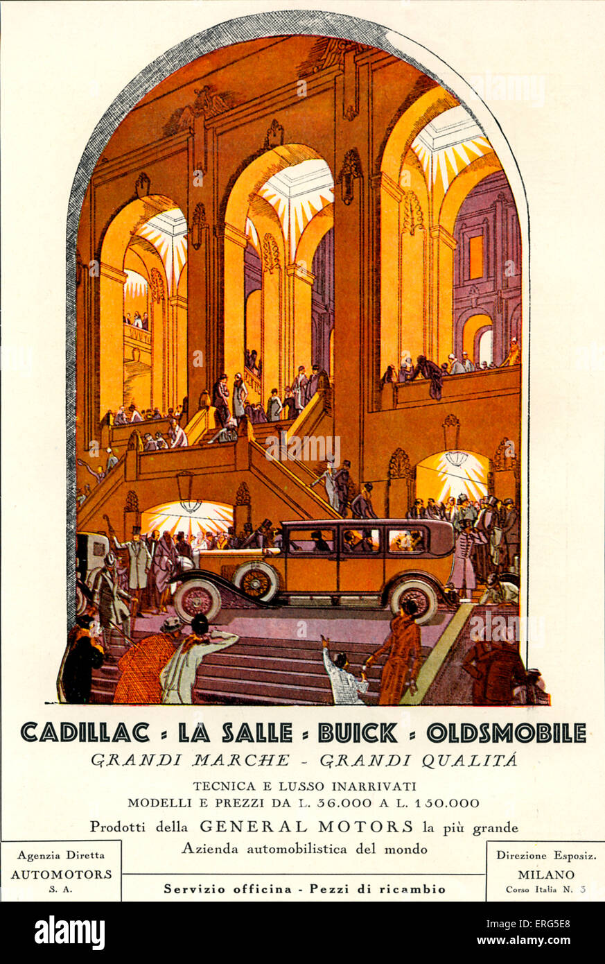 Advertisement for General Motors cars, in Italian, 1928. Poster reads: Cadillac, La Salle, Buick, Oldsmobile  ' - Stock Image