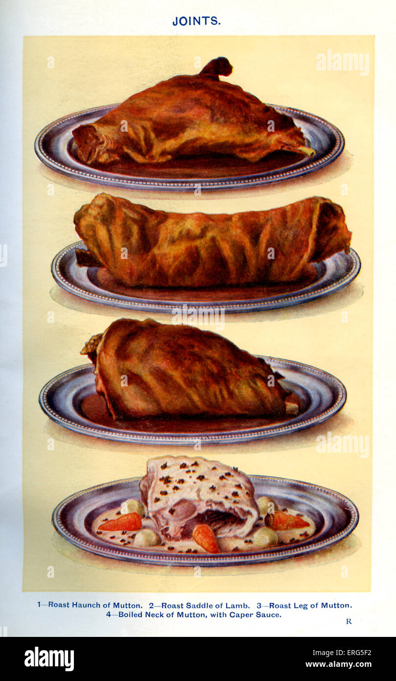 Mrs Beeton 's cookery book  - joints: Roast haunch of mutton, Roast saddle of lamb, Roast leg of mutton, Boiled - Stock Image