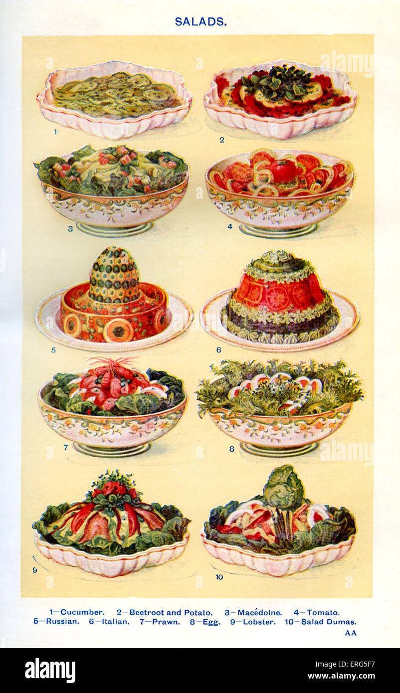 Mrs Beeton 's cookery book  - salads (from 1 to 10): Cucumber, Beetroot and potato, Macedoine, Tomato, Russian, - Stock Image