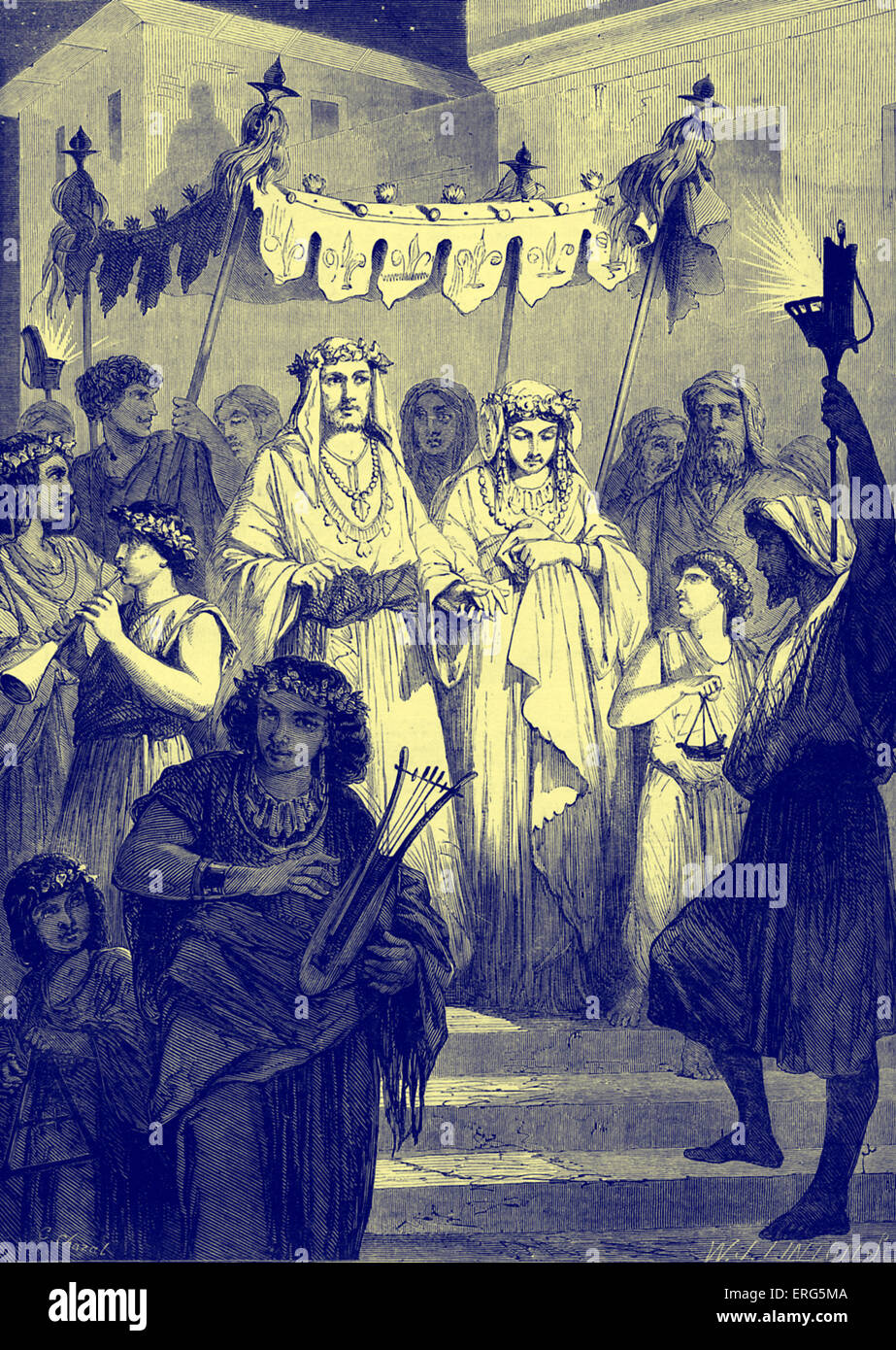 Hebrew bridal procession. Bible, Solomon 's Song V (Song of Songs): The power and sweetness of love. (huppah, - Stock Image