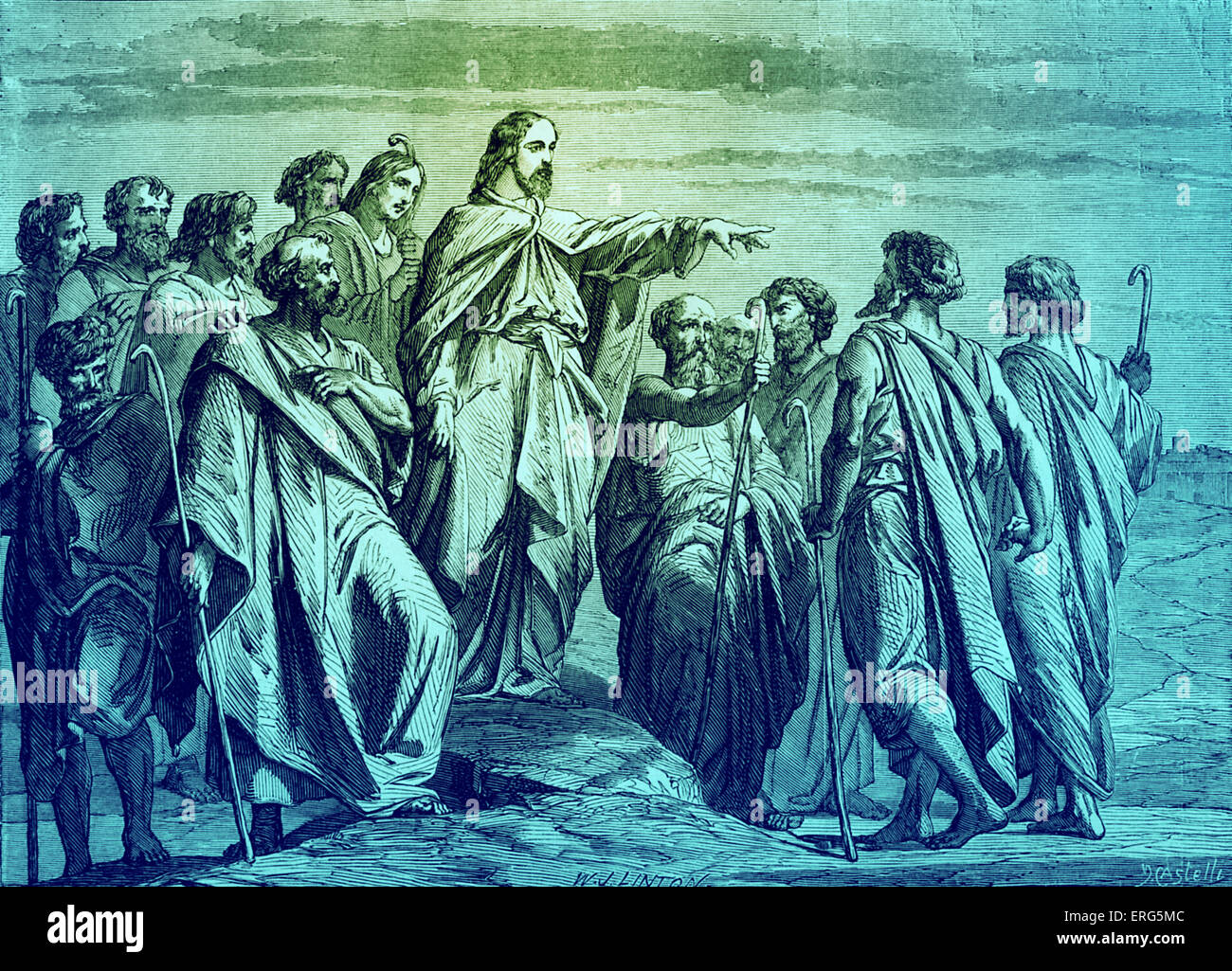 Christ sending forth the apostles. Bible, Matthew X, 16: 'Behold, I send you forth as sheep in the midst of - Stock Image