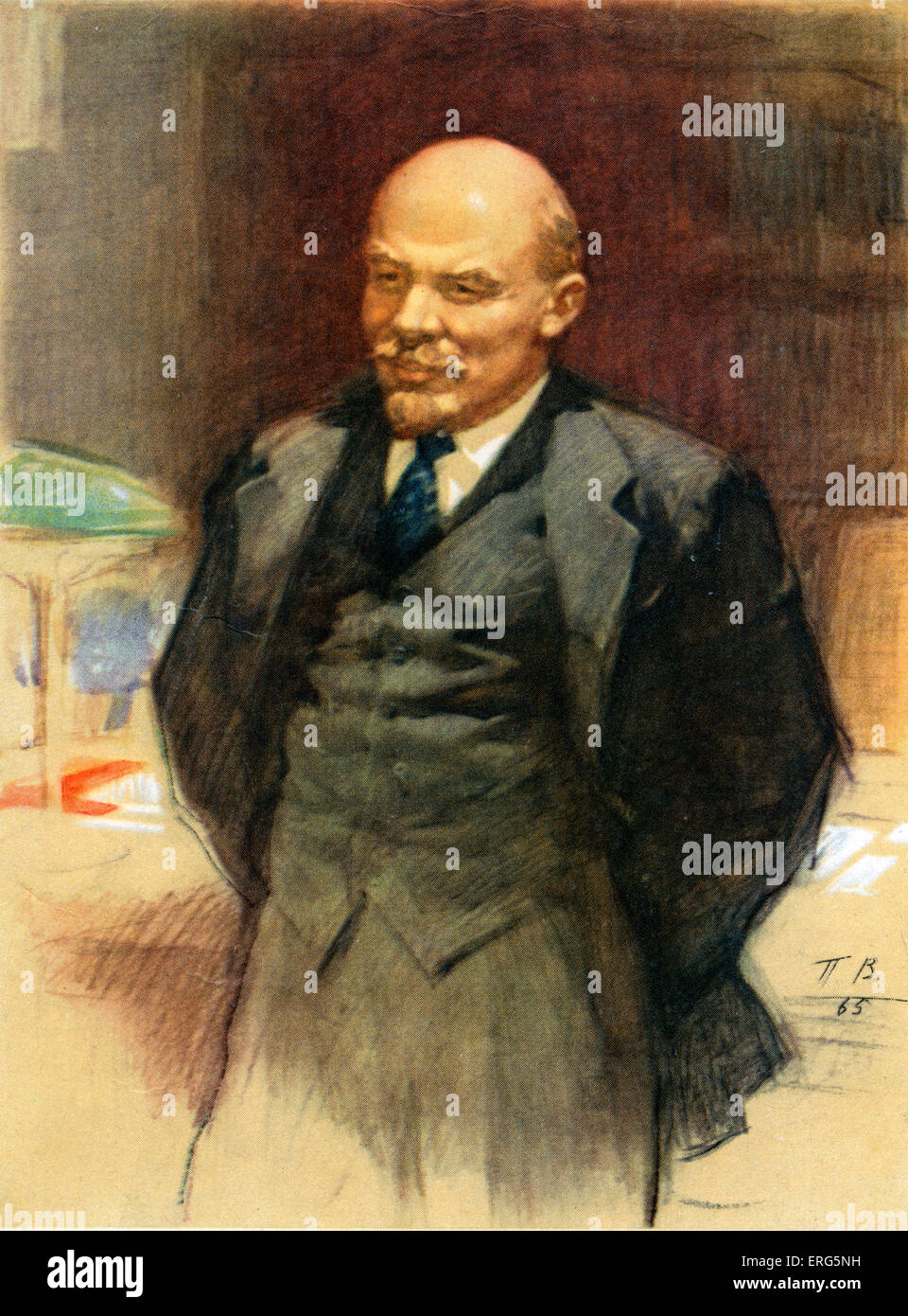 Vladmir Lenin, Russian  revolutionary and communist politician,  led the October Revolution of 1917 (1870- 1924). - Stock Image