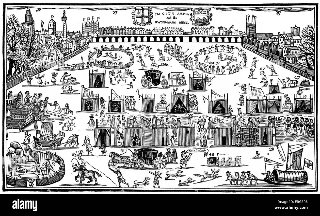 Frost Fair on the  River Thames, 1683. During the Great Frost of 1683–84, the worst frost recorded in England. - Stock Image