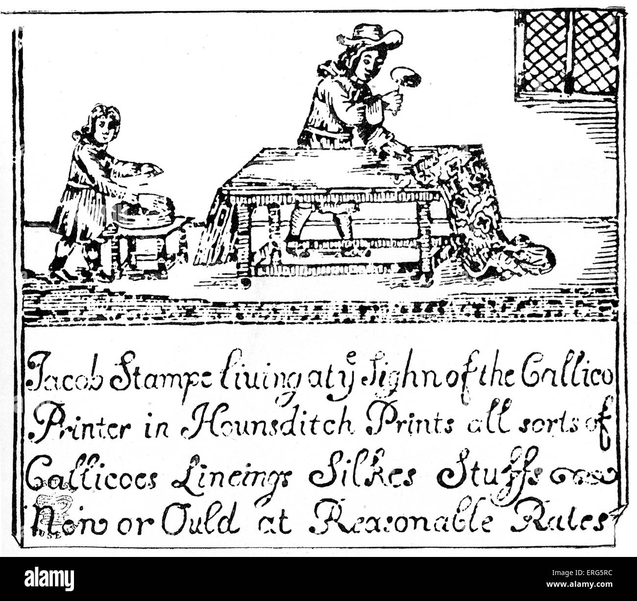 Stamping Calico. British craftsman printing material in the time of James II, 6 February 1685 –  23 December 1688. - Stock Image