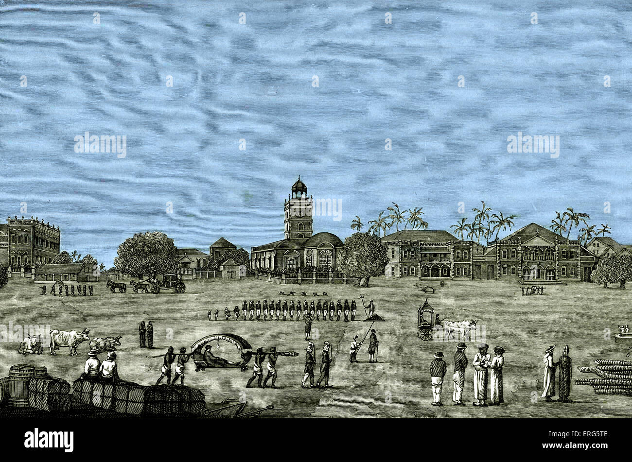Bombay Green in 1767. During the British Raj. Tinted version. - Stock Image