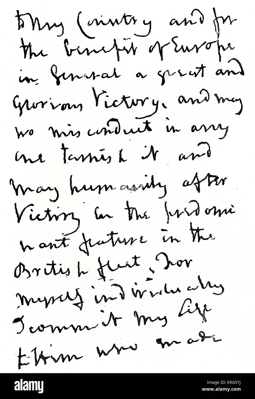 Horatio Nelson's letter, 1805. Part of letter written before the Battle of Trafalgar, during which Nelson was - Stock Image
