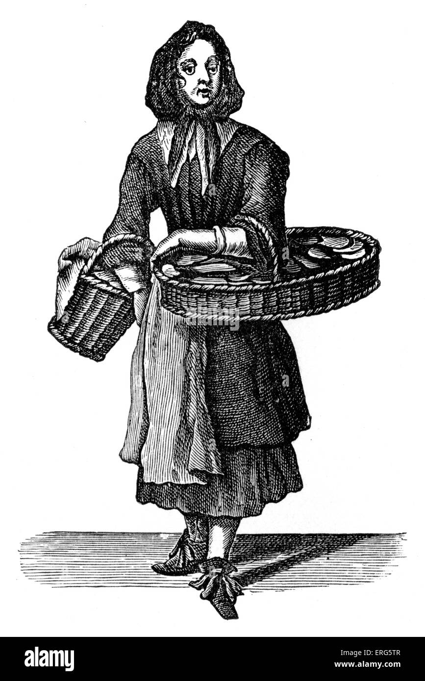 The Cries of London: 'Buy my Dutch Biskets' by Marcellus Laroon, 1689. Woman selling Dutch biscuits. Series - Stock Image
