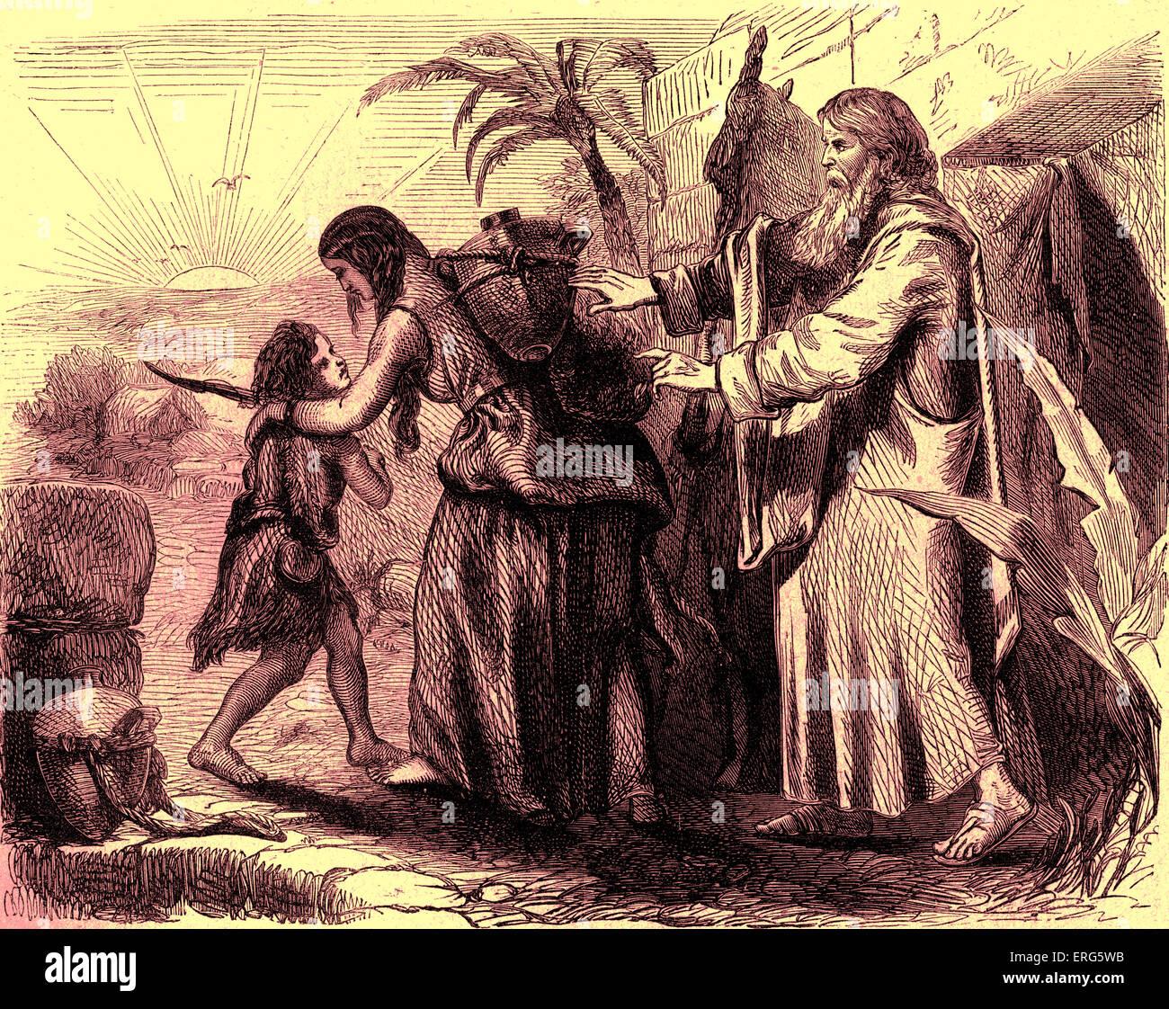 Hagar and Ishmael sent away by Abraham fulfilling Sarah 's wish. Splitting of Judaism (descendands of Isaac) - Stock Image