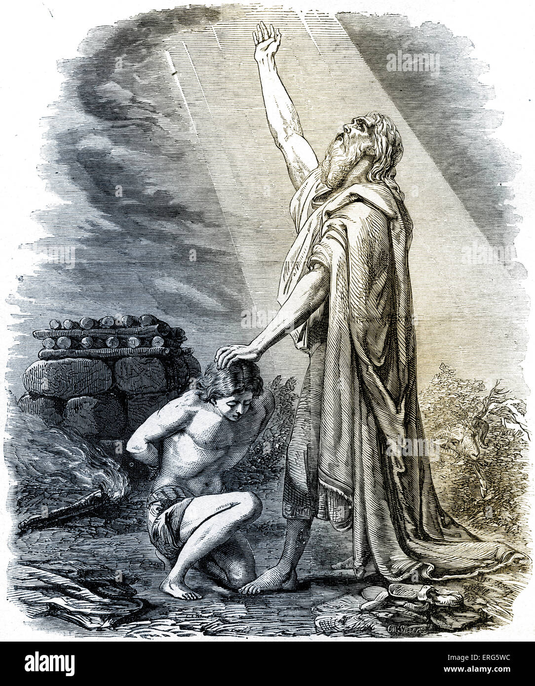 Abraham willing to sacrifice Isaac as burned offering in response to God's command.   Genesis, chapter XXII.Tinted - Stock Image