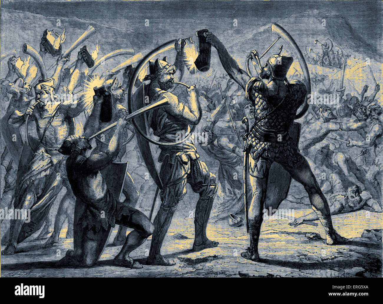 Gideon surprising the army of the Midianites. Gideon and his followers by the stratagem of lamps and trumpets, surprising - Stock Image