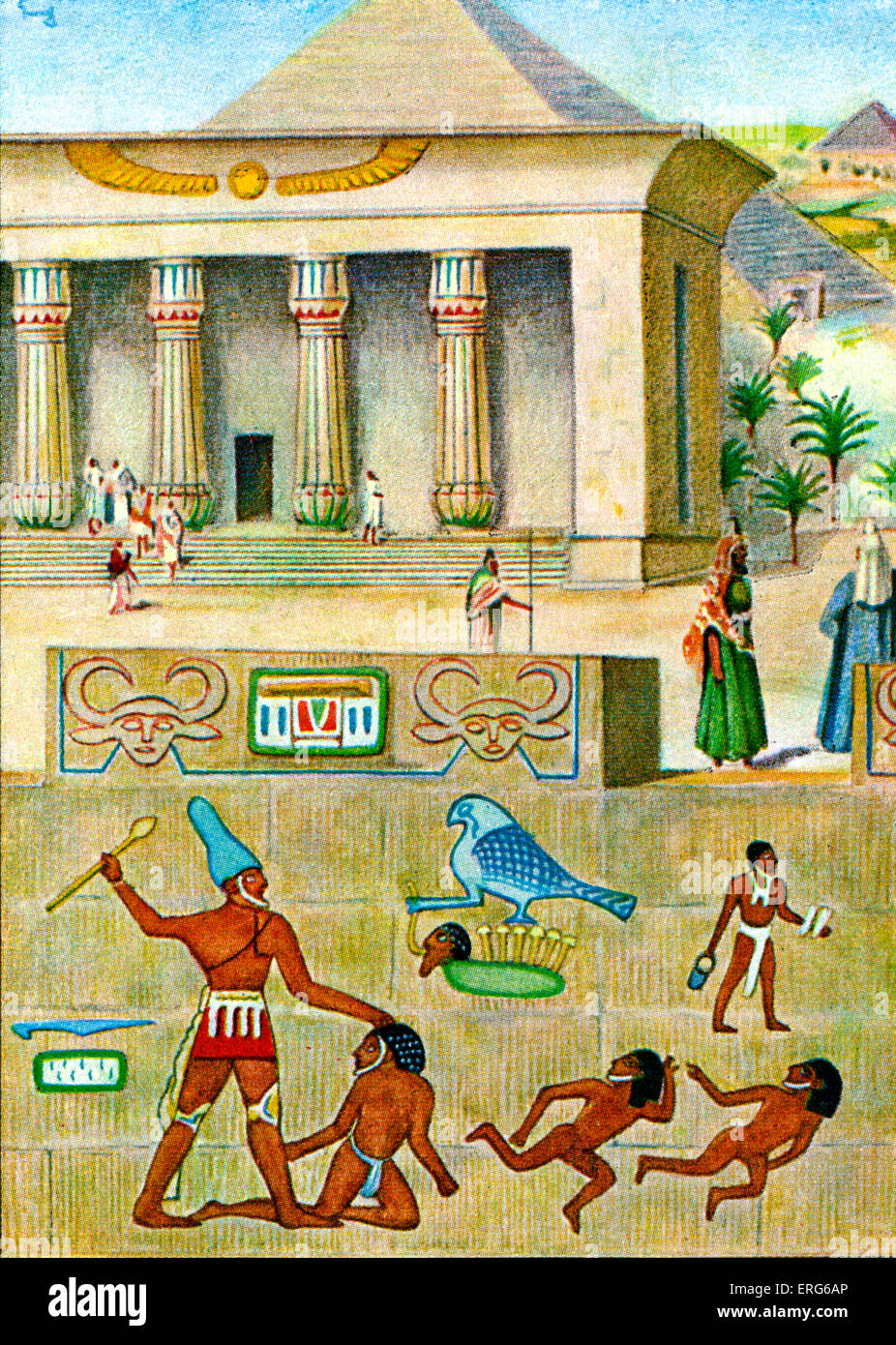 The Origin and Evolution of Writing -   Caption reads: 'Hierogliefen' [Hieroglyphs]. Hieroglyphs were used - Stock Image