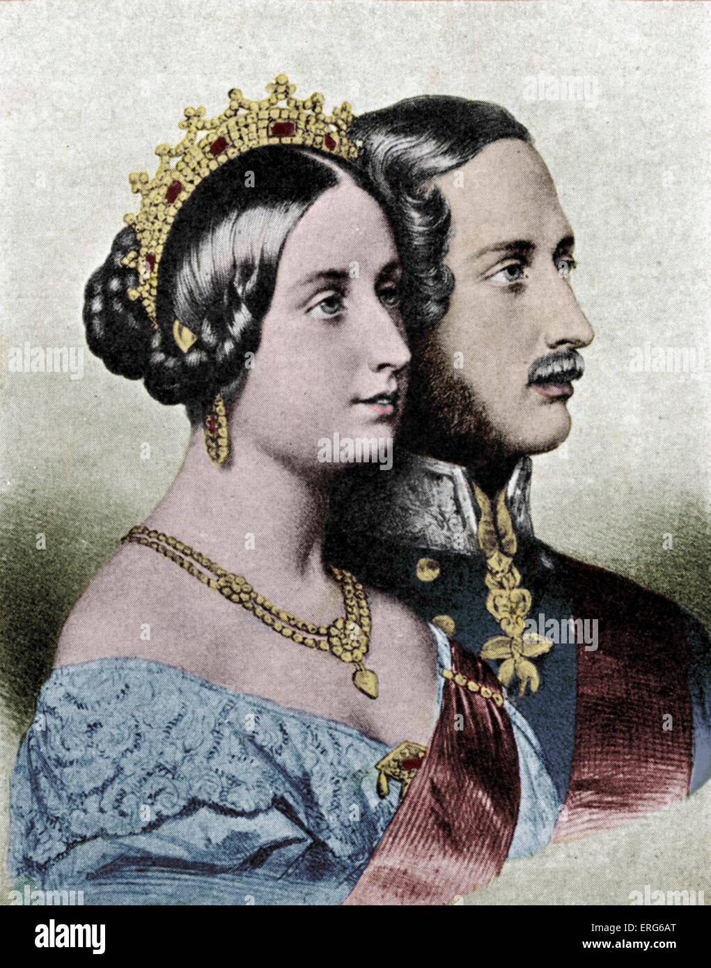 Queen Victoria and Prince Albert. Portraits in profile. - Stock Image