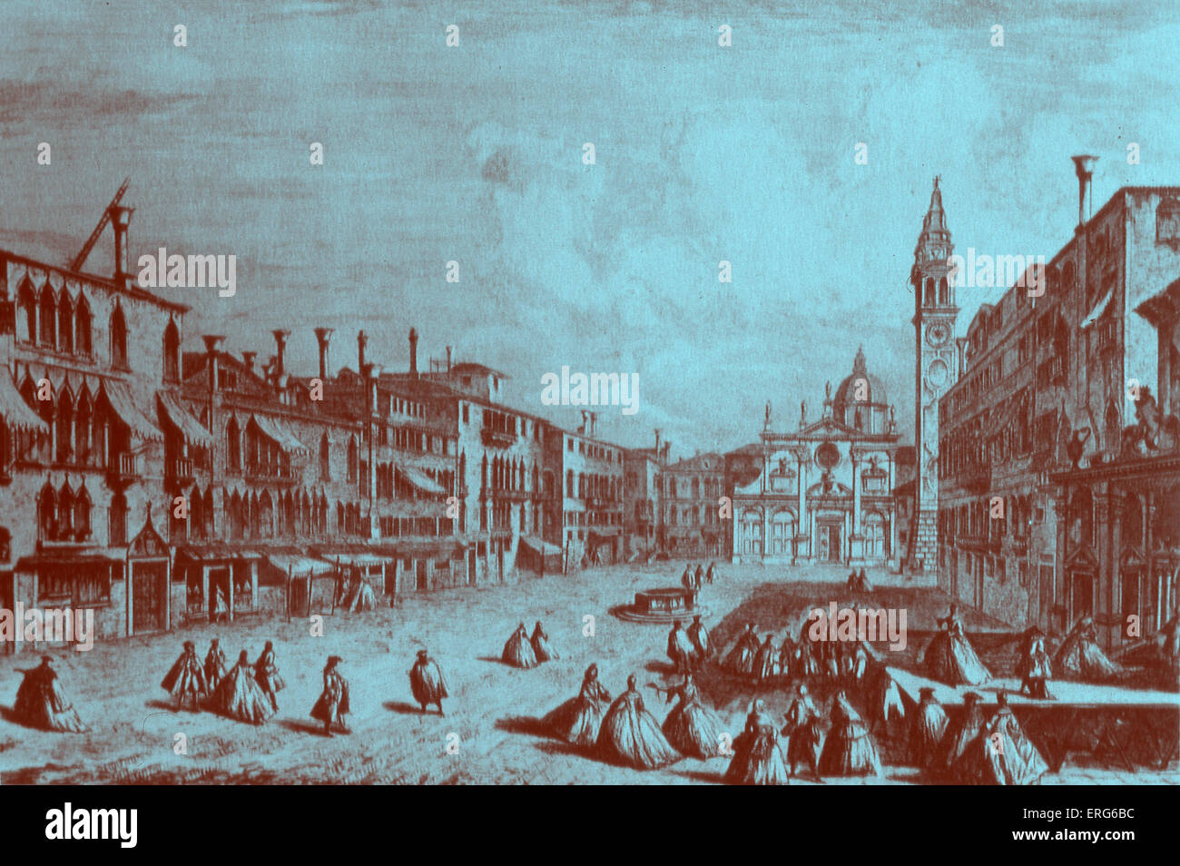 VENICE - PIAZZA SANTA MARIA FORMOSA. 18th century engraving showing people promenading in the square Time of Vivaldi, - Stock Image