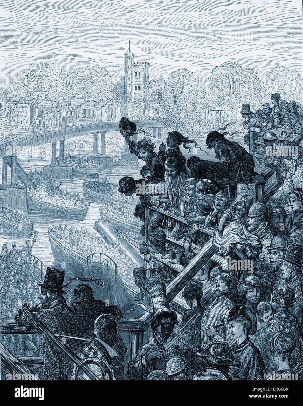 Oxford and Cambridge boat race passing under Putney Bridge, London.  Men, women and children leaning over bridge - Stock Image