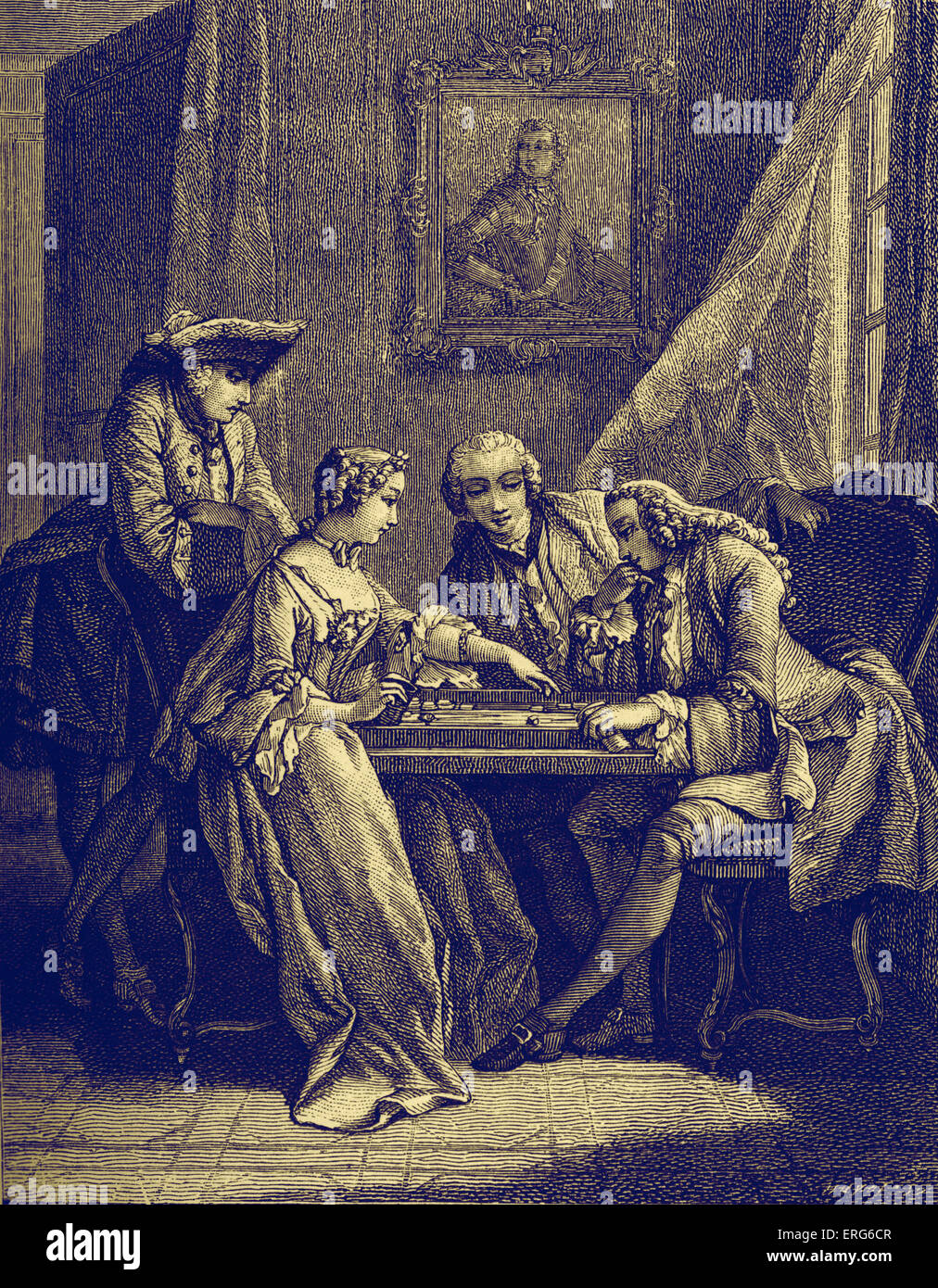 Bourgeois men and women at a gaming table, playing French game of Trictrac (predecessor of backgammon) by a window. - Stock Image
