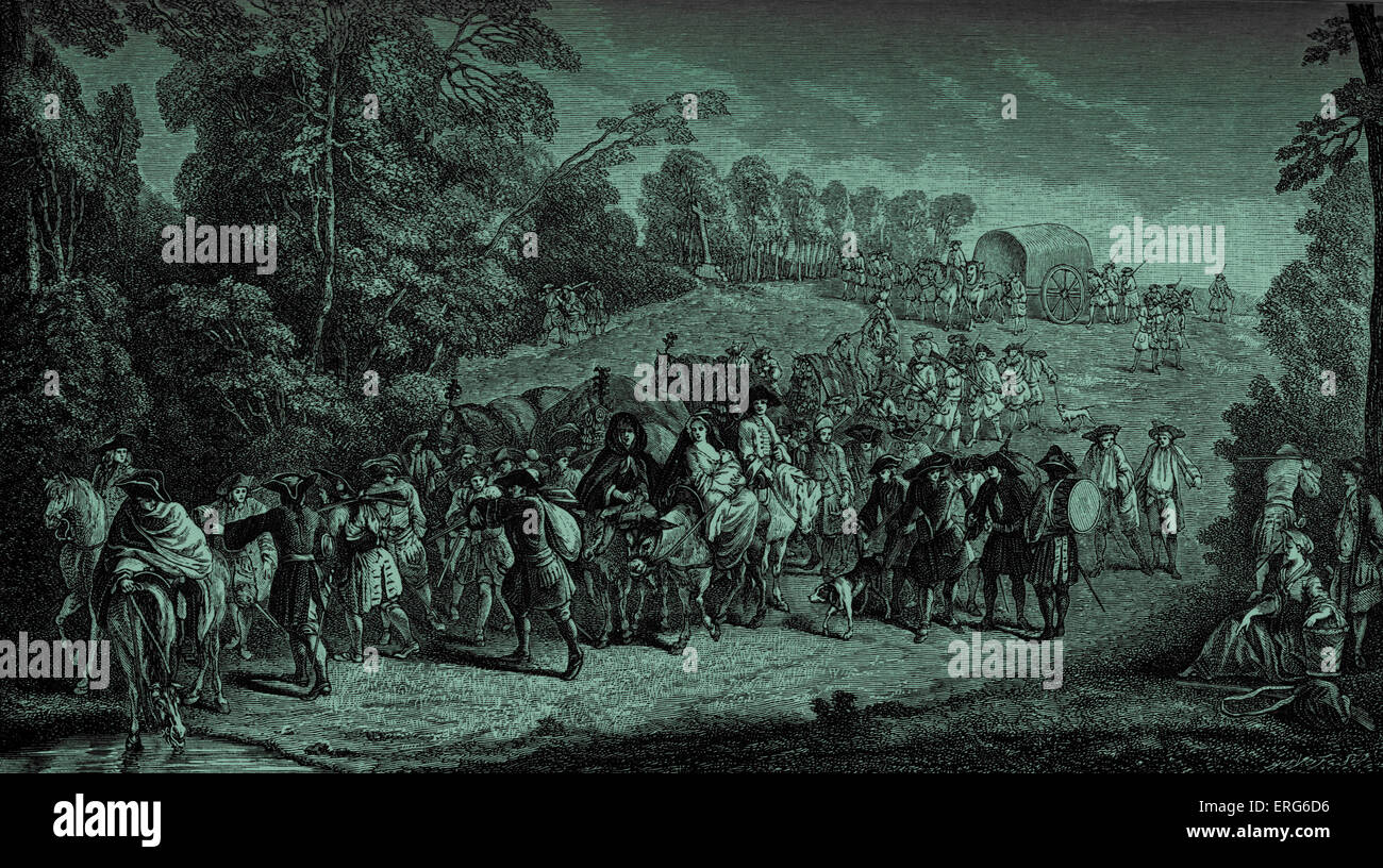 Infantry on the march: 18th century French army on way to war. - Stock Image