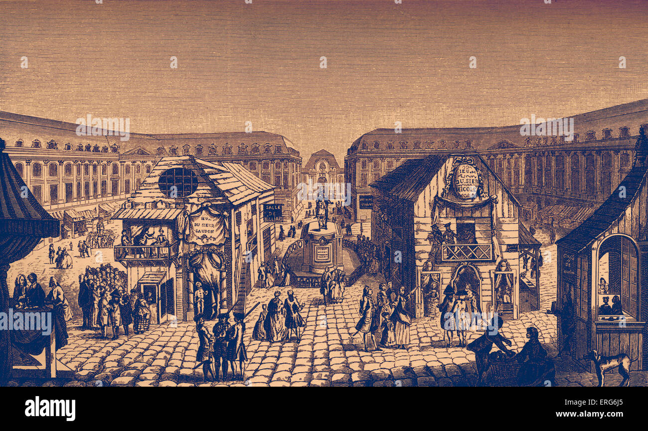 Daily life in French history: the St Ovide Fair (fairground) on Place Louis-Le-Grand, Paris, showing 18th century Stock Photo