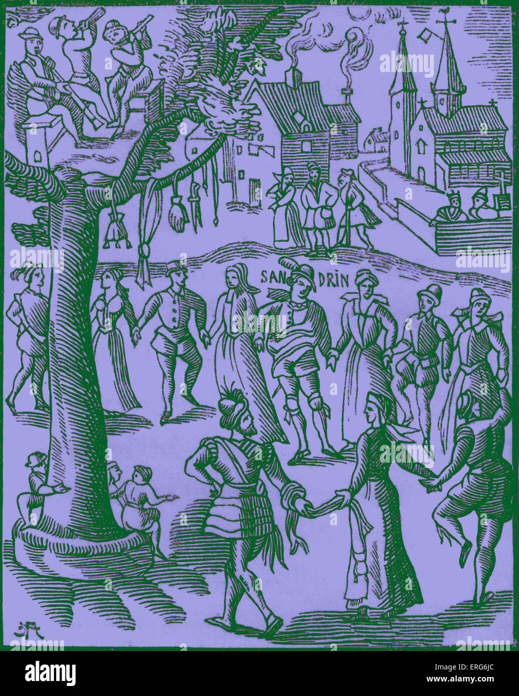 Village Feast, as depicted in the 16th century work 'Sandrin ou Verd Galant'. Events such as these were - Stock Image