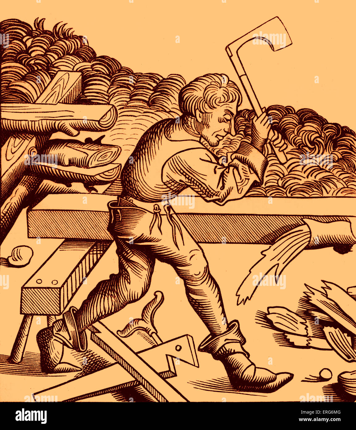 Carpenter, reproduced from the original drawing by Michael Wolgemut (Wohlgemuth) in the 'Chronique de Nuremburg'. - Stock Image